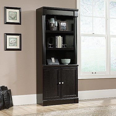 "Five-Shelf 72"" Bookcase with Concealed Storage in Wind Oak Finish"