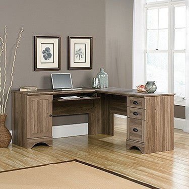 Modern L-shaped Reversible Corner Desk in Salt Oak
