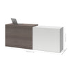 "White and Bark Gray Extending 41 - 75"" Lateral File / Desk Combo"
