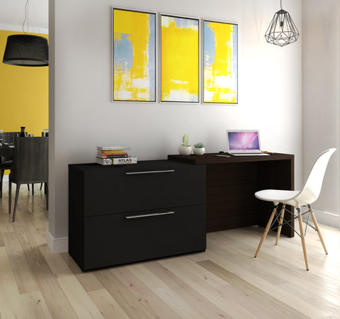 Modern Extending Lateral File / Desk Combination in Black & Dark Chocolate