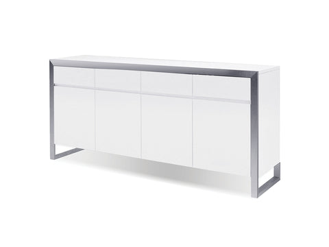 High Gloss 4-Door Storage Credenza with Stainless Steel Frame