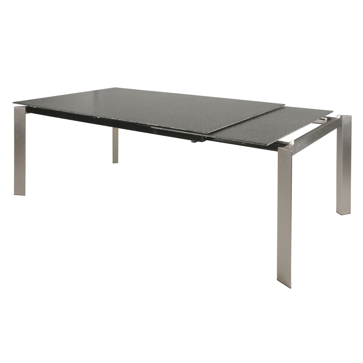 "55"" - 78"" Extending Executive Desk/Conference Table of Gray Glass & Steel"