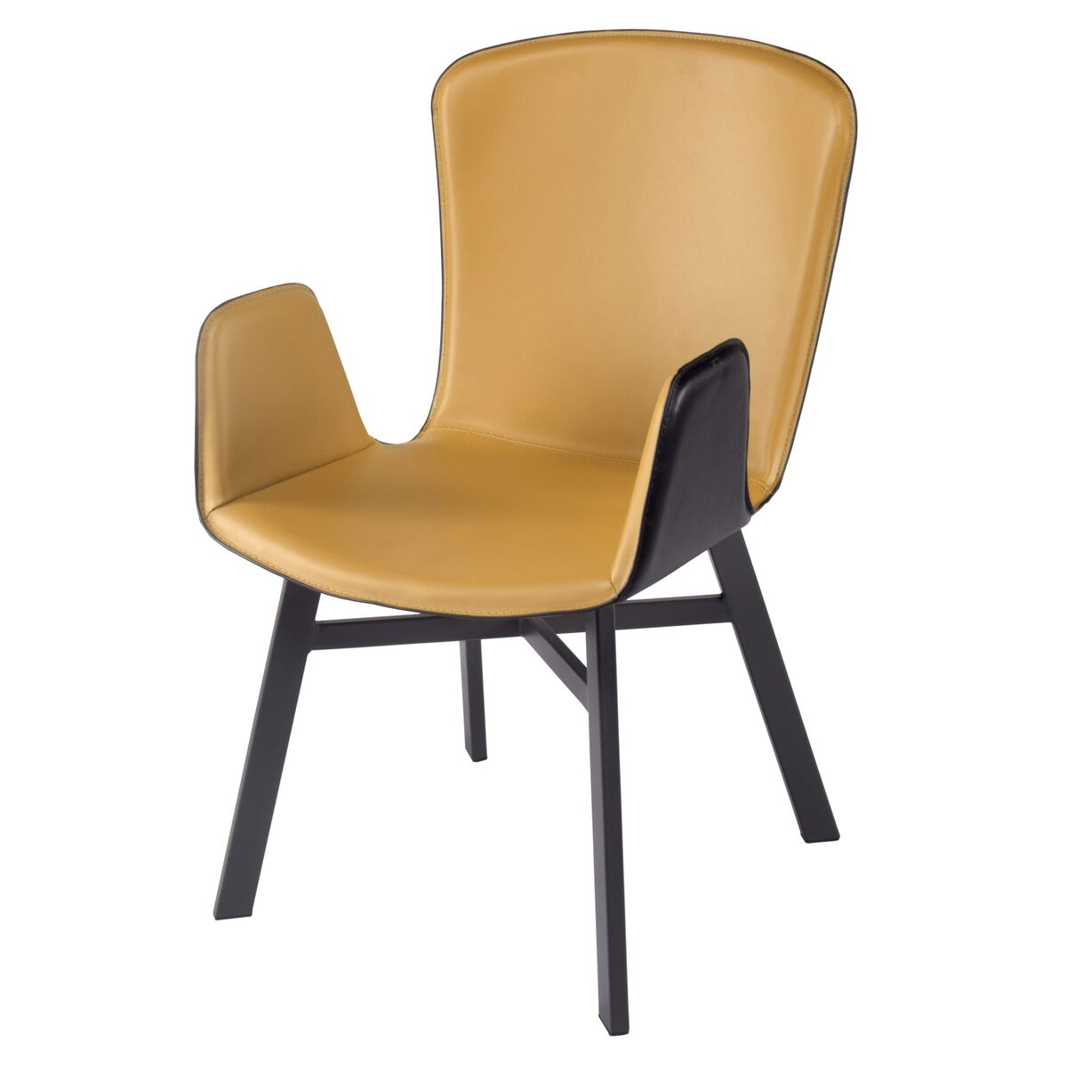Unique Leatherette Guest or Conference Chair in Ginger and Black