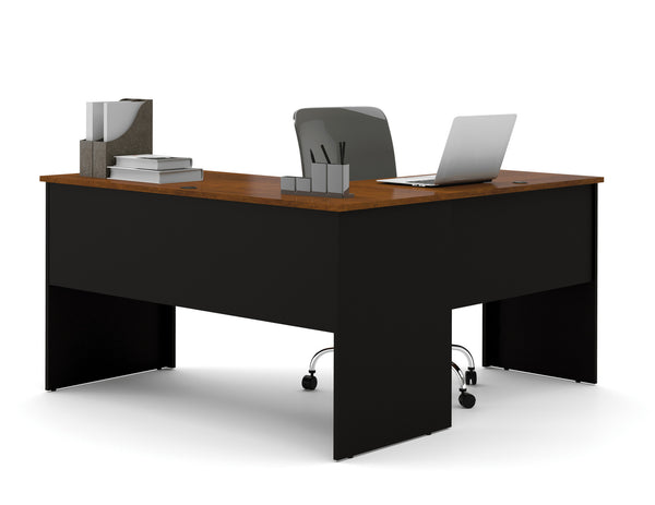 Somerville 4 Drawer L Shaped Office Desk In Tuscany Brown