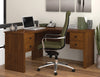 Somerville 4-Drawer L-shaped Office Desk in Tuscany Brown or Tuscany Brown & Black