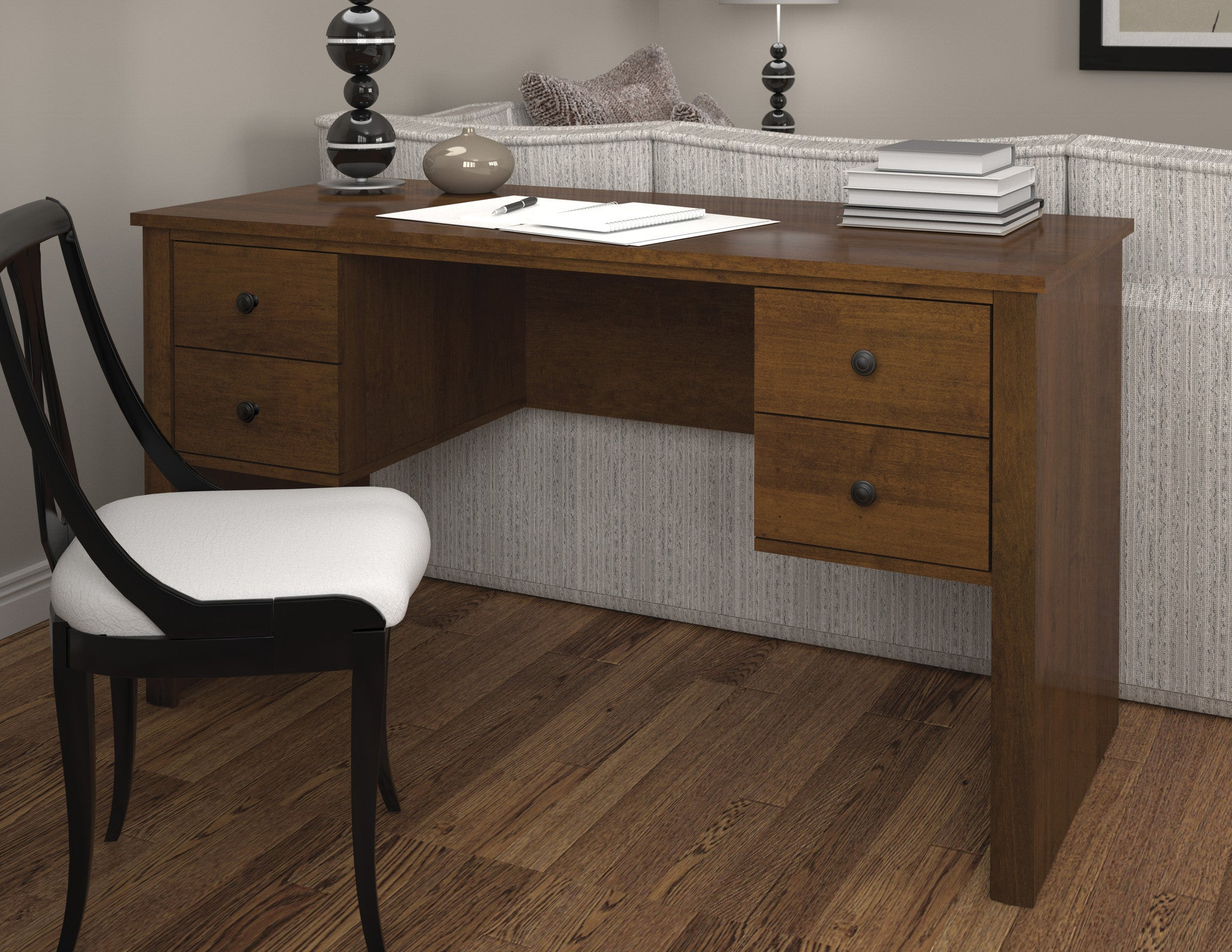 Somerville 4-Drawer Executive Desk in Tuscany Brown or Tuscany Brown & Black