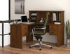 Somerville L-shaped Desk with Hutch in Tuscany Brown or Tuscany Brown & Black