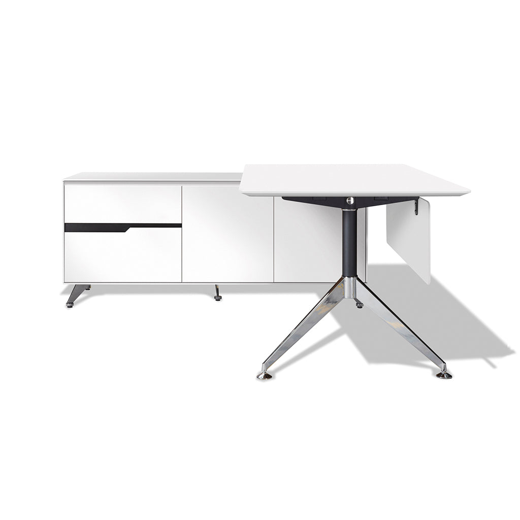 Modern White Lacquer L-shaped Executive Desk (Left Return)