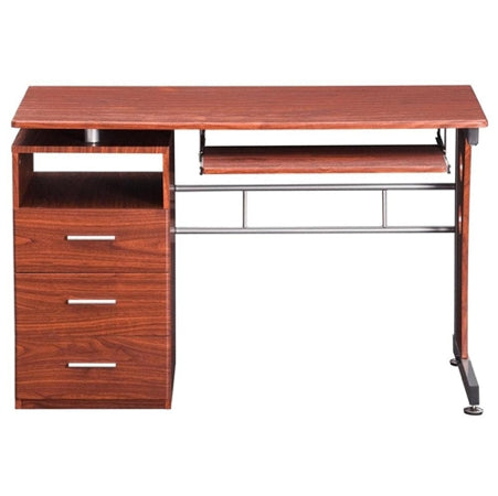 Modern Workstation with Storage in Mahogany or Chocolate