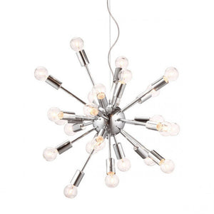 Hanging Ceiling Light w/ Chrome & Bare Bulbs