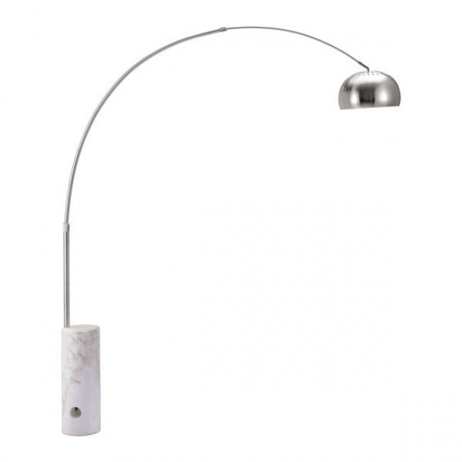 Sleek Arched Office Floor Lamp in Chrome & Marble