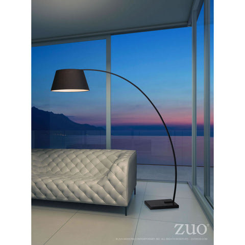 Sleek Black Arched Office Floor Lamp