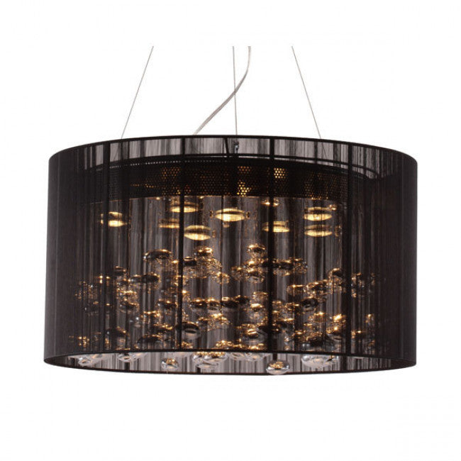 Sophisticated Office Hanging Lamp of Black Lace & Chrome