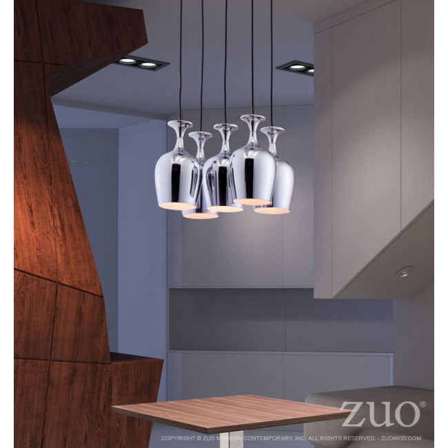 Wine-Glass-Style Hanging Light in Silver