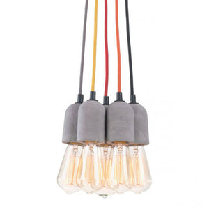 Cheerful Faux Cement & Multi-Colored Hanging Light Fixture