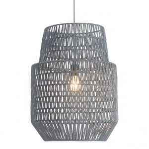 Gray Fabric Ceiling Light w/ Bell-Shaped Design