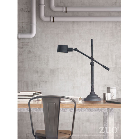 Vintage Military-Style Office Table Lamp in Black (Adjustable)