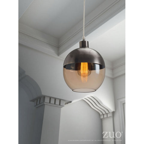 Amber & Bronze Satin Hanging Office Lamp