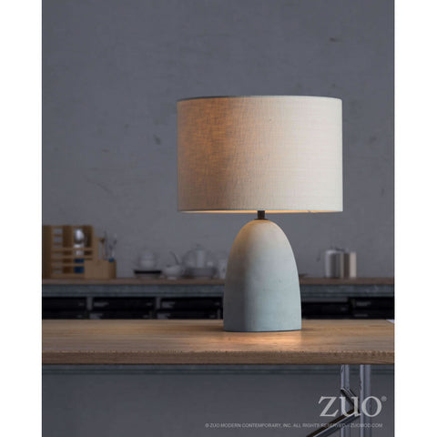 Beige & Faux Cement Office Table Lamp