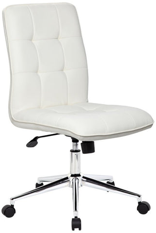 Elegant White Armless Office Chair with Chrome Base