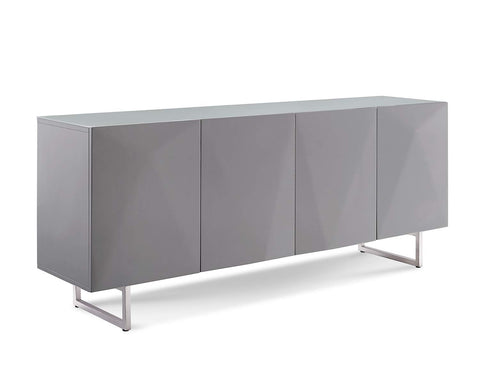 High Gloss Gray Storage Credenza with Tempered Glass Top