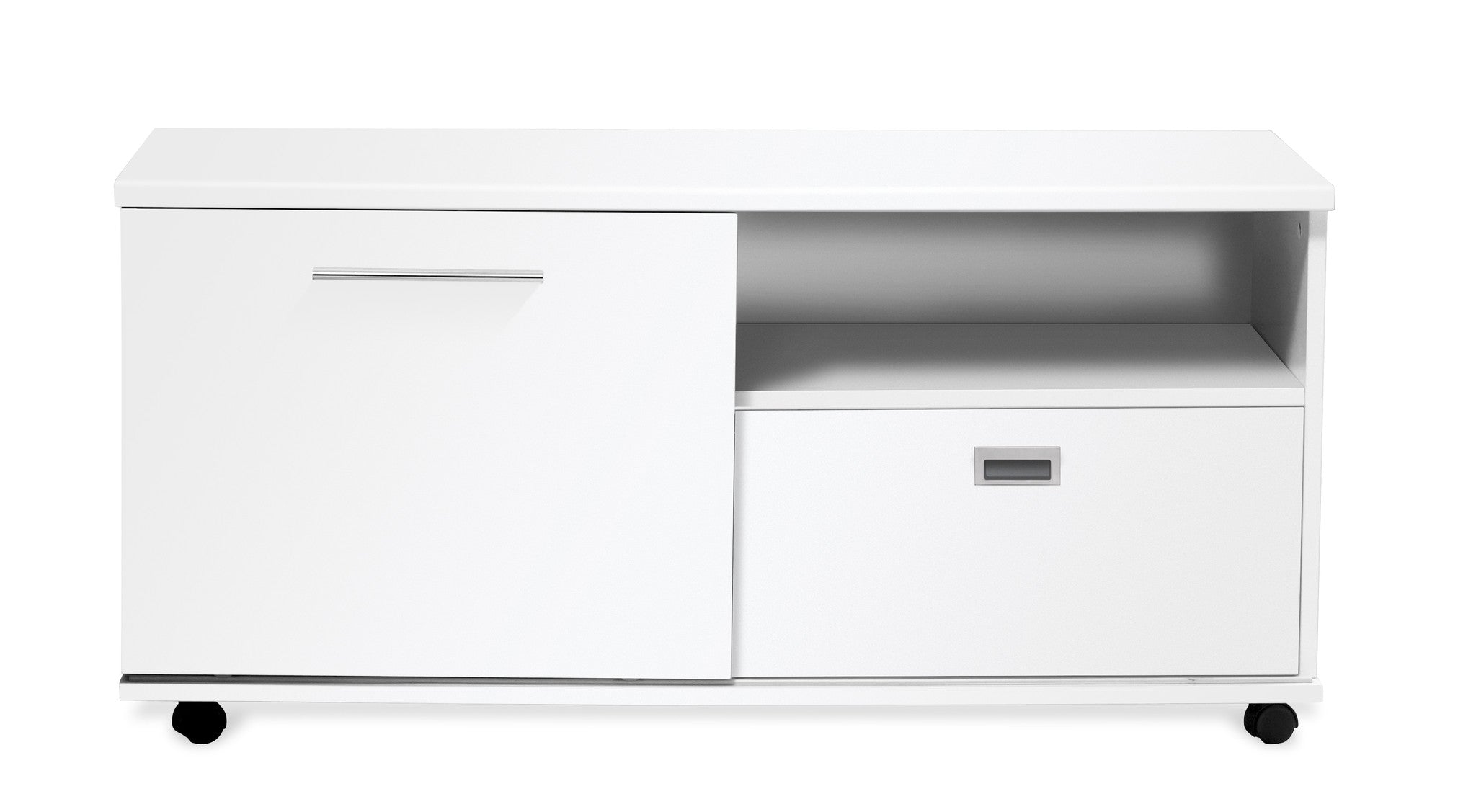 "Modern 47"" Credenza / Storage Unit in White Lacquer"