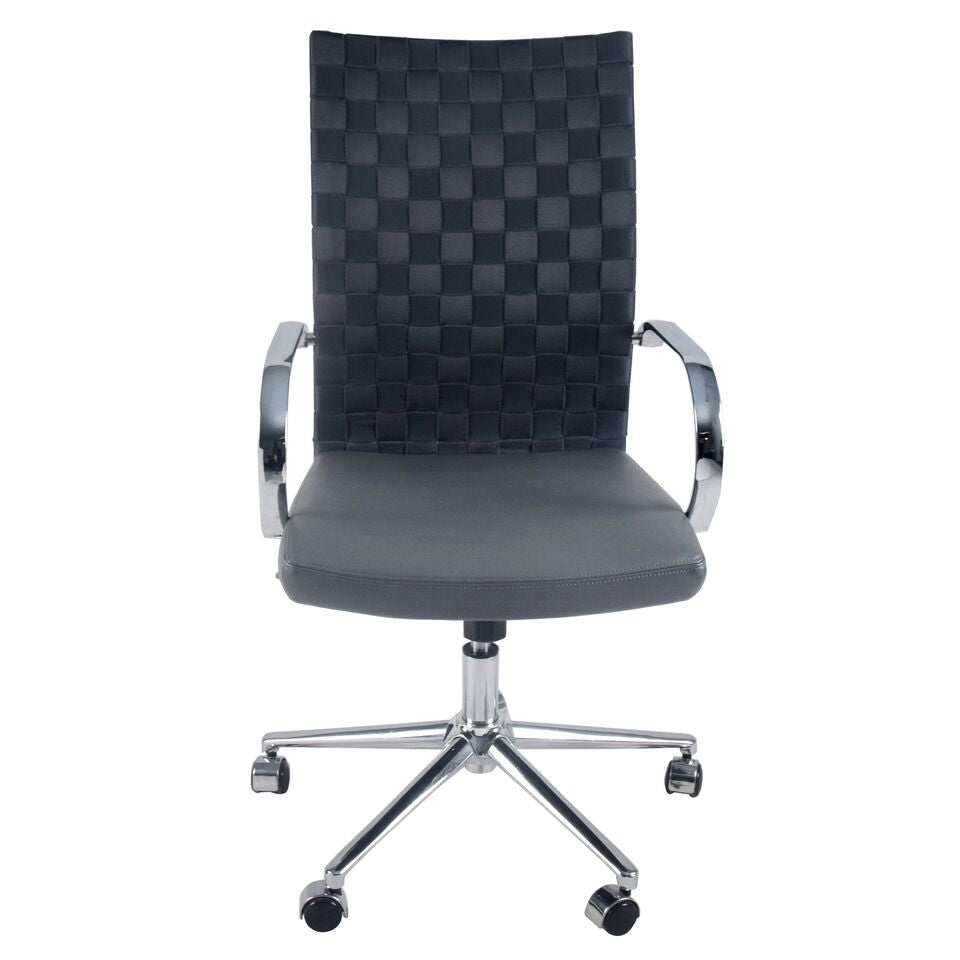 Comfy Gray Woven Office Chair w/ Arms