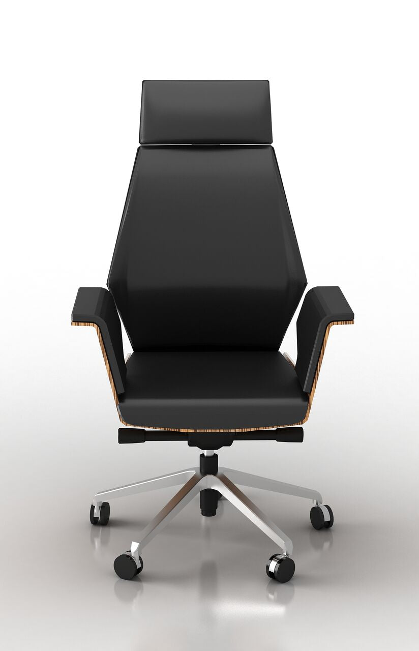 Elegant Executive Office Chair w/ Black Eco-Leather and Zebrano Wood Veneer