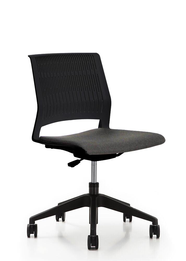 Classic Rolling Black Office Chair w/ No Arms