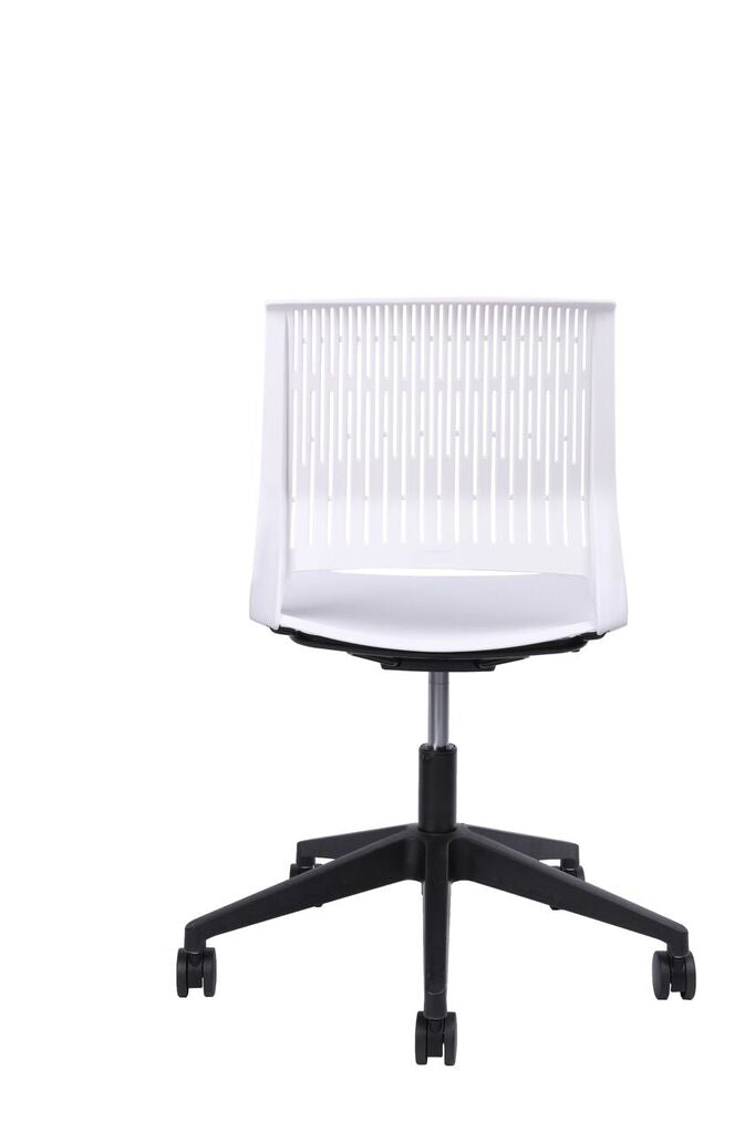 Classic Rolling White Office Chair w/ No Arms