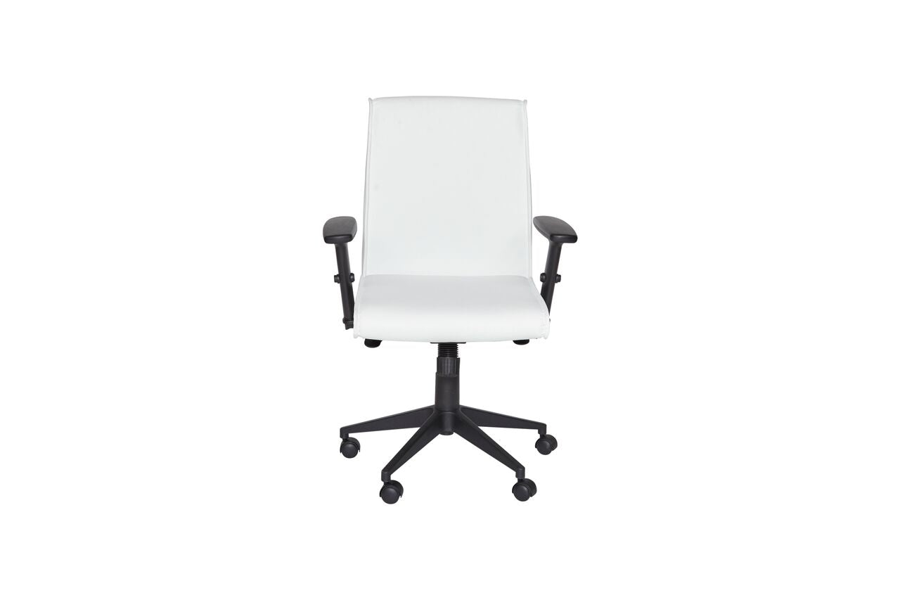 Classic White Mid-Back Leather Office Chair w/ Armrest