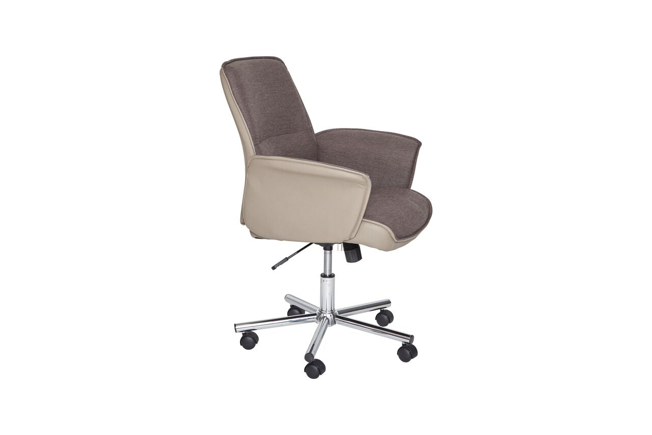 Rolling Grey Low-Back Office Chair with Arms