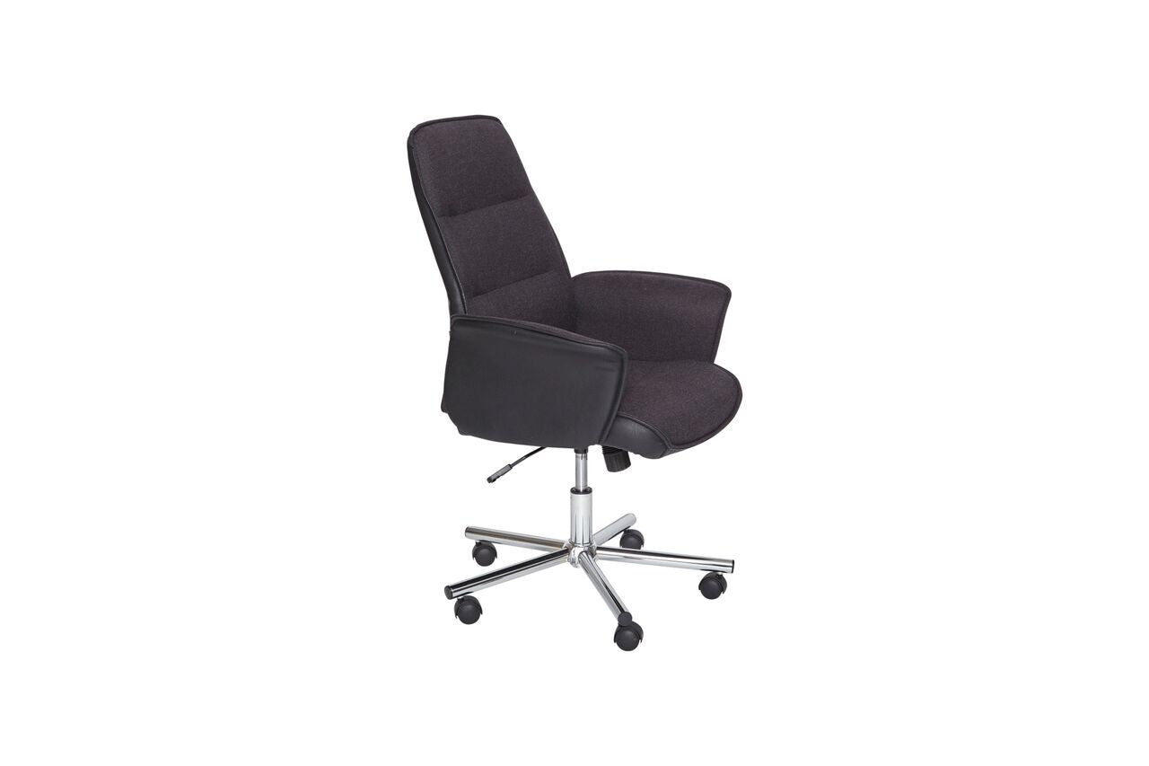 Rolling Black High-Back Office Chair with Arms