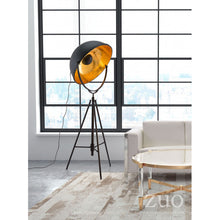 Load image into Gallery viewer, Antique Black Office Floor Lamp w/ Gold