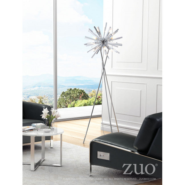 Silver Chrome Office Floor Lamp on Tripod