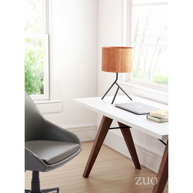 Stunning Office Lamp w/ Faux Wood Shade & Black Base