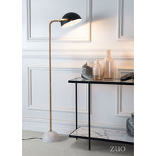 Load image into Gallery viewer, Mid-Century Modern Black & Marble Floor Lamp w/ Gold Stem