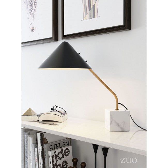 Black & Gold Office Table Lamp w/ Marble Base