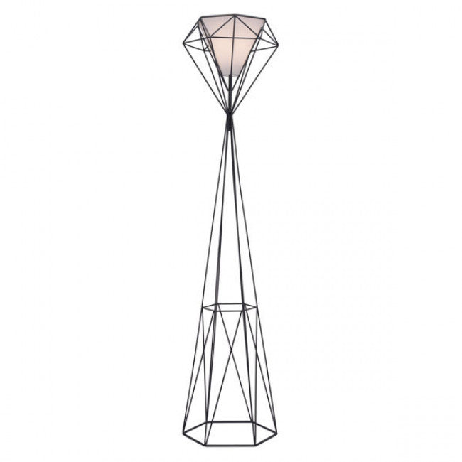 Diamond-Shaped Open Design Floor Lamp w/ Frosted Glass Shade