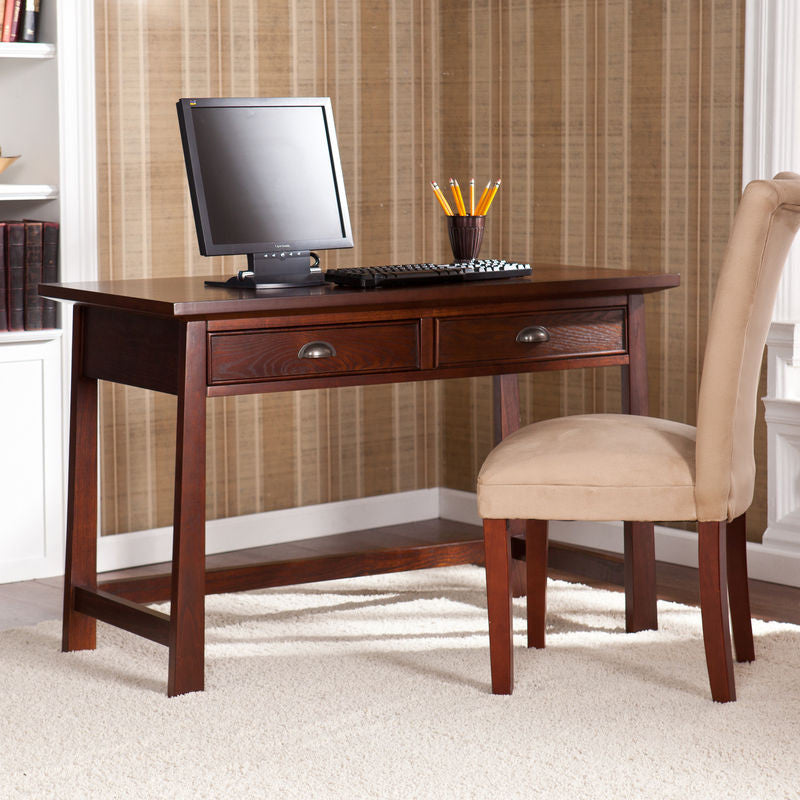 "Elegant 46"" Espresso Office Desk with Optional Hutch"