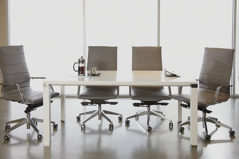 "71"" White Lacquer Meeting Table or Desk with Chrome Accents"