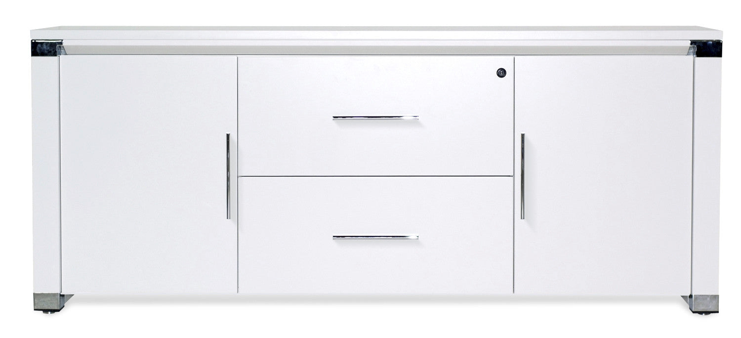 Modern White Lacquer Credenza with Two Locking File Drawers ...