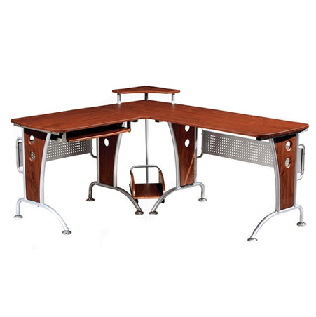 Contemporary Mahogany L-Shaped Workstation and CPU Storage