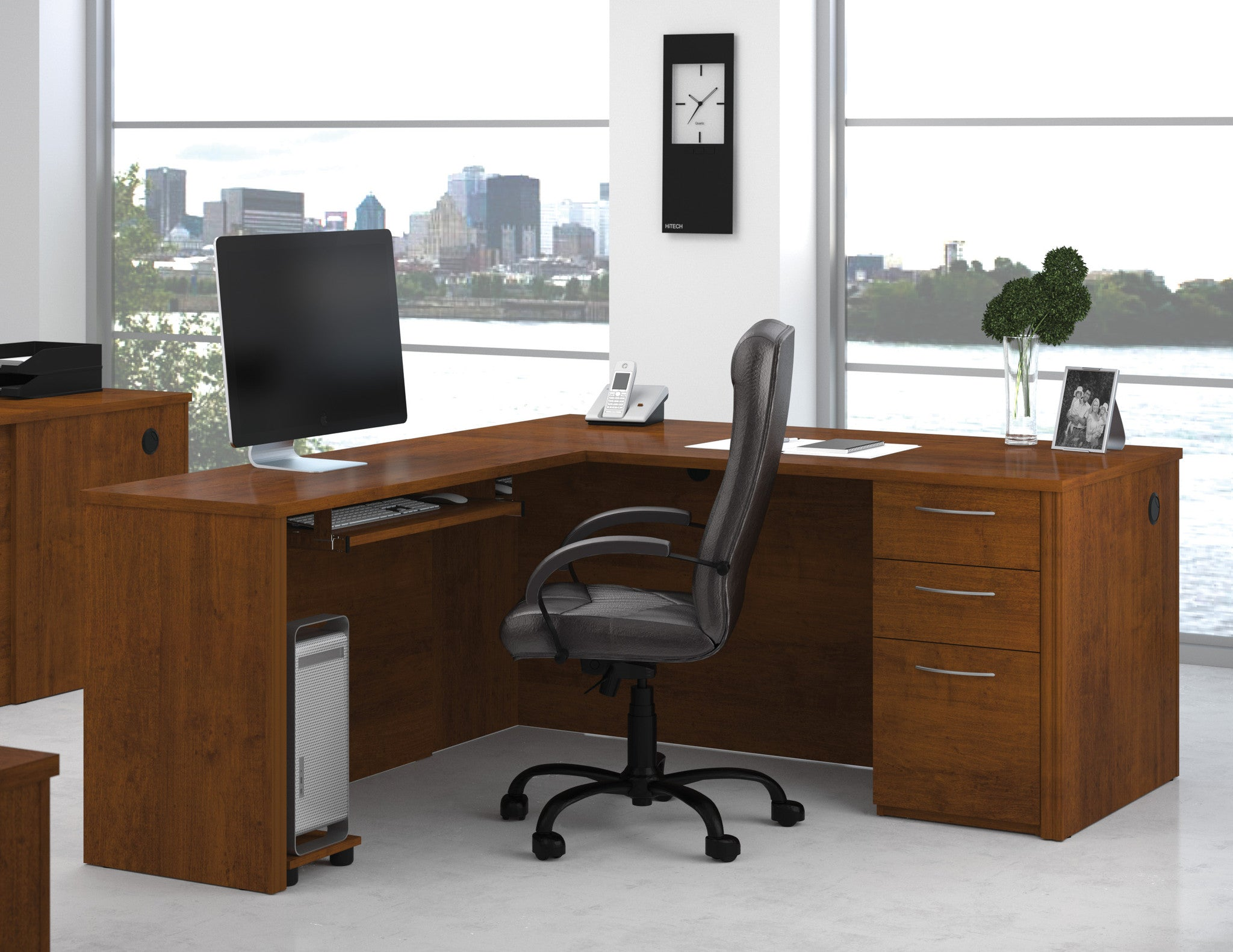 Embassy Modern Corner Desk In Tuscany Brown Or Cappuccino