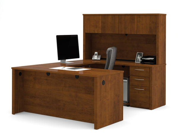 Modern U Shaped Premium Office Desk With Hutch In Tuscany