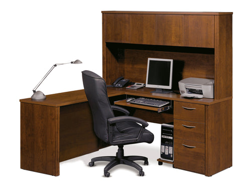 Elegant L-shaped Premium Office Desk with Hutch in Tuscany Brown