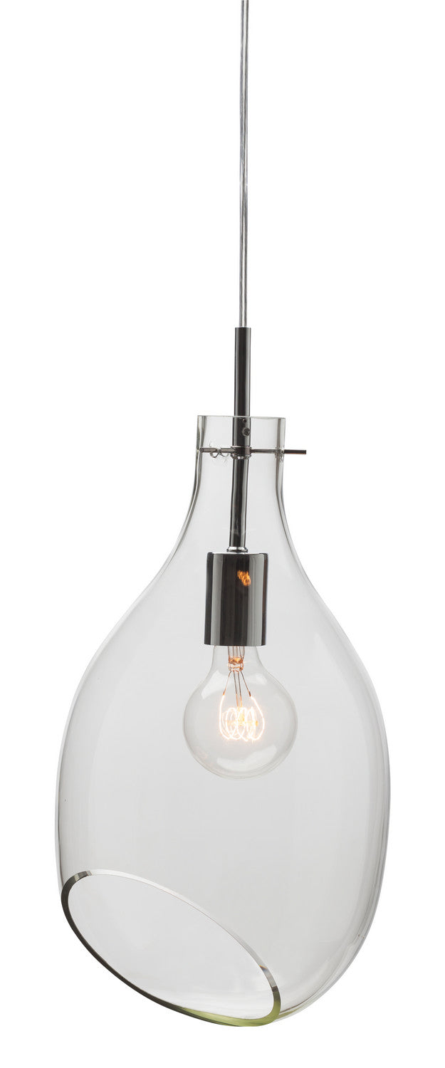 Elegant Pendant Light made from Clear Glass and Chrome Steel