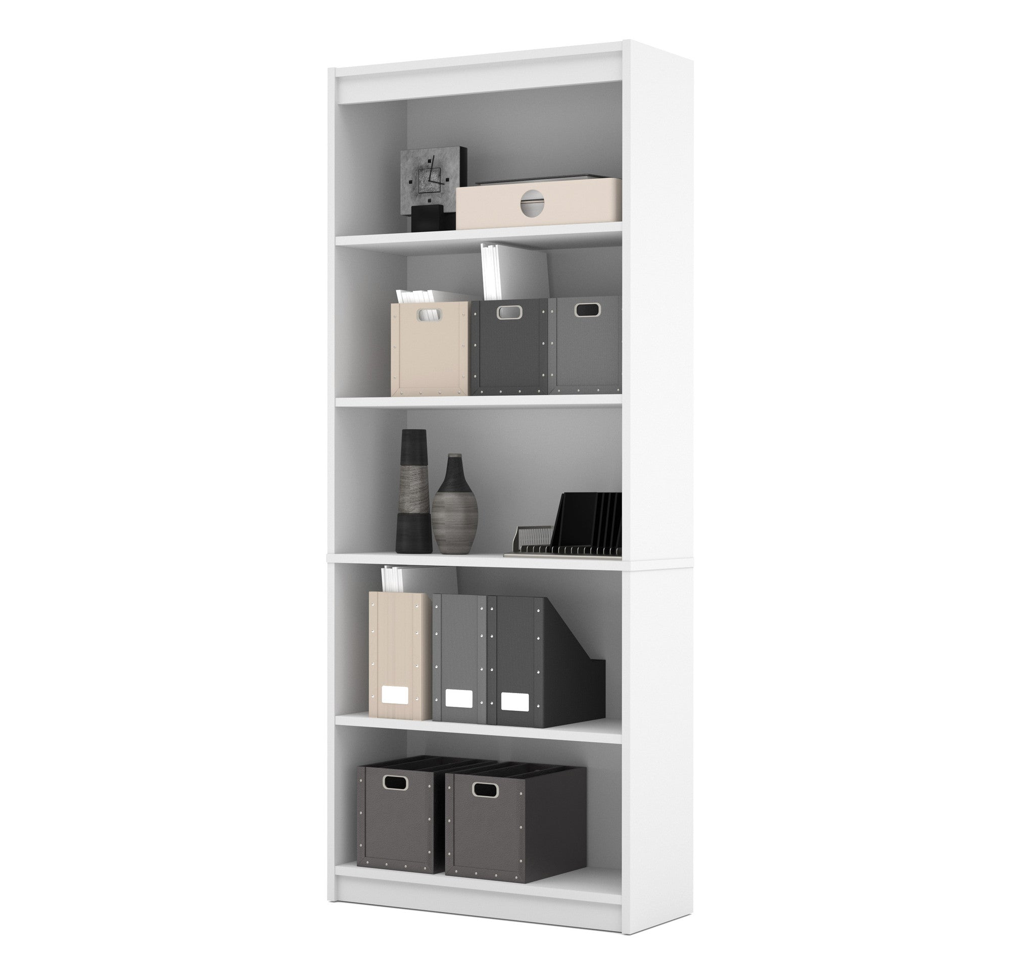 "Modern White 72"" 5 Shelf Bookcase"