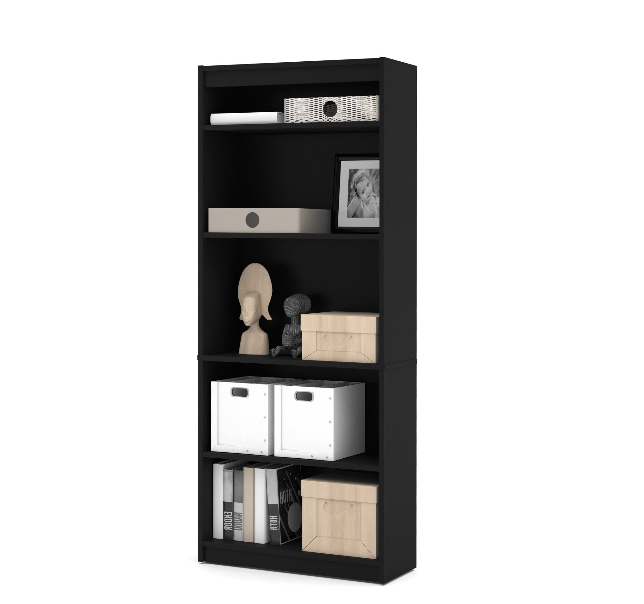 "Elegant Black 72"" 5 Shelf Bookcase"
