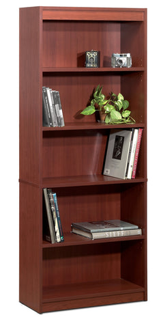 "Contemporary 72"" 5 Shelf Bookcase in Bordeaux"